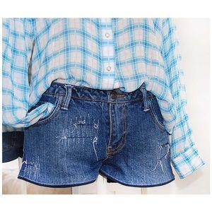 Reformed [ FOREVER 21 ] Distressed Denim Shorts